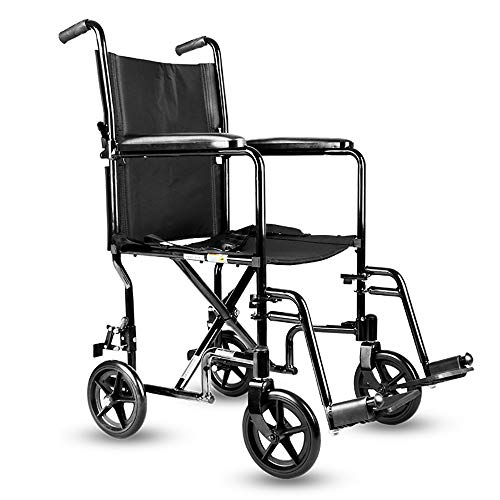 QETU Ultralight Transport Wheelchair - Fixed Full Arms, Swing Away Footrests - Suitable for Older People, Disabled People