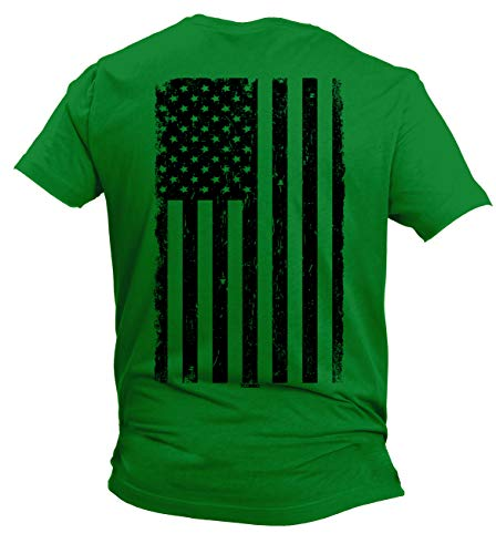 Distressed Black USA Flag - United States Men's T-Shirt (Kelly - Back Print, Medium)