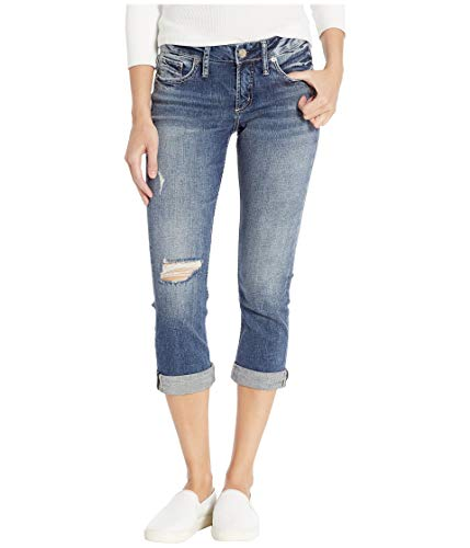 Silver Jeans Co. Women's Elyse Relaxed Fit Mid Rise Capri, Power Stretch Medium, 29W x 22.5L (Capri Bermuda Jeans)