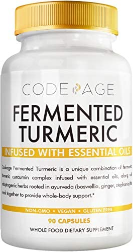Codeage Fermented Turmeric Supplement, Extra Strength Curcumin Infused with Organic Essential Oil and Digestive Bitters, Joint and Heart Health, 90 Capsules