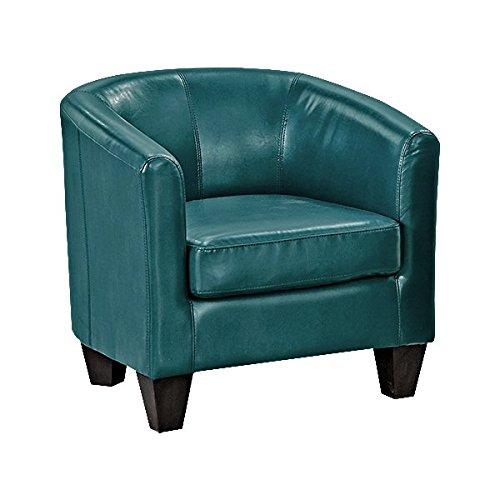 Grafton 1572-01-L07 Joseph Faux Leather Barrel Chair, One Size, Peacock