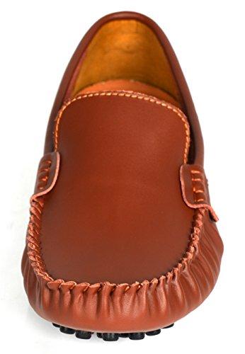 Herobest Menns Vintage Skinn Moccasin Uformelle Virksomheten Loafers Sko  Lys Brun ...