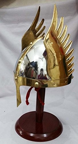 MEDIEVAL KNIGHT VIKING ARMOUR HELMET WINGED NORMAN KING SCA- COSTUMES by brass gift (Norman Knight Costume)
