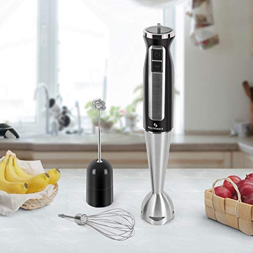 SOLTRONICS Immersion Hand Blender, 3-in-1, 8-Speed 500 Watts Stick Blender with Milk Frother, Egg Whisk for Smoothies, Coffee Milk Foam, Puree Baby Food, Sauces and Soups, BPA-Free, Black