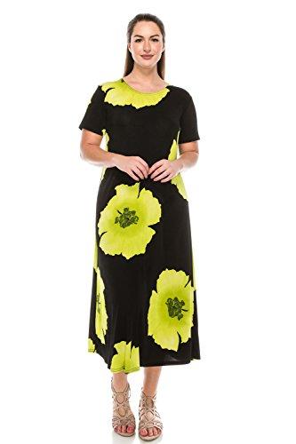 Jostar Women's Stretchy Long Dress Short Sleeve Print X-Large Lime ()