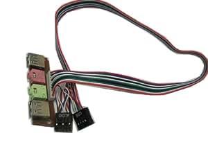 JMT Cable de cable conector de 3,5 mm para auriculares PC 2.0 AUDIO Mic caso anfitrión Desktop Computer frontal de E / S del panel USB