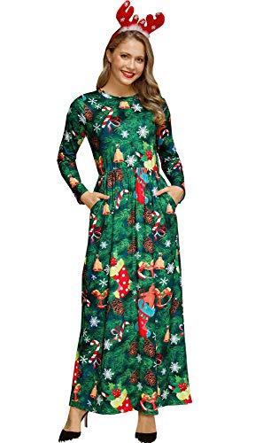Christmas Women Santa Claus Party Xmas Gifts Longsleeve Printed Cosplay Maxi Flared Dress Xmas Tree XL