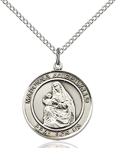 Sterling Silver Round Catholic Madonna Del Ghisallo Medal Pendant, 3/4 Inch