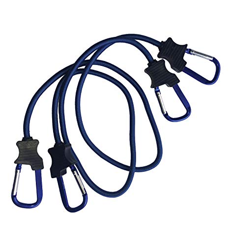Typhon East Bungee Cords with Carabiner Hooks (Set of 2)   3ft Heavy Duty Tie Downs   UV Treated Straps with Durable Latex Core   Cord Ties for Tarp, Truck Rack, Camping Accessories and More (Blue)