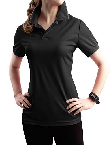 TWINTH Womens Active Sports Wear Short Sleeve 2-Button Polo T Shirt with Plus Size Black S
