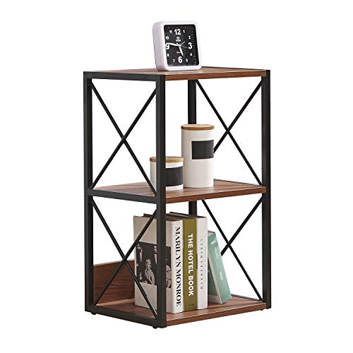 H.J WEDOO 2/3/4 Tier Industrial Bookshelf,Bedside Table Vintage Open Etagere Bookcase, Rustic Bookshelves with Metal Frame Storage Rack Display Stand Wood Shelves for Home Office Decor,Walnut(2 Shelf)
