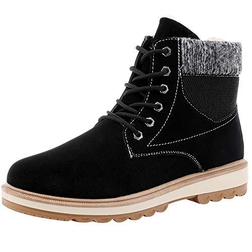 Winter Sale Men Fashion Plus Velvet Vintage High-Top Handsome Martin Short Boots Outdoor Shoes (Black, Tag Size 41=US:7.5) ()