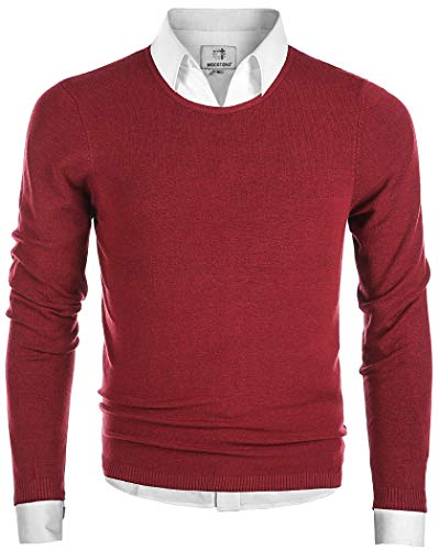 MOCOTONO Men's Long Sleeve Crew Neck Pullover Knit Sweater Wine Red -