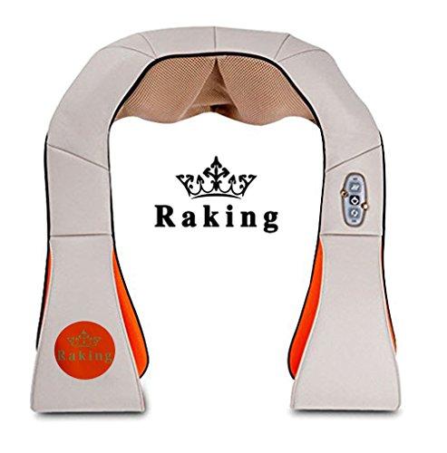 Raking Neck and Shoulder Massager Kneading- Back/Waist/Feet Massager With Heat - Home Spa Machine/Car,Office Chair Massager (Beige)