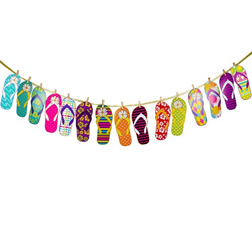 15pcs Beach Slippers Banner - Colorful Large Flip Flops Sandals Hanging Sign Décor - Summer Beach Bikini Carnival Party - Hawaii Tropical Luau Holiday Decoration