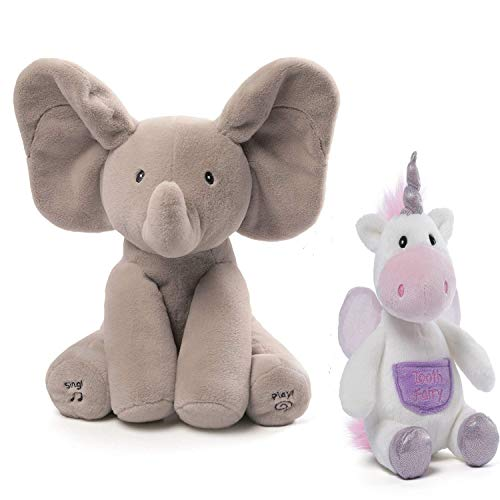 GUND Baby Animated Flappy The Elephant and Flitterina Unicorn Toothfairy Pal Stuffed Animal Plush