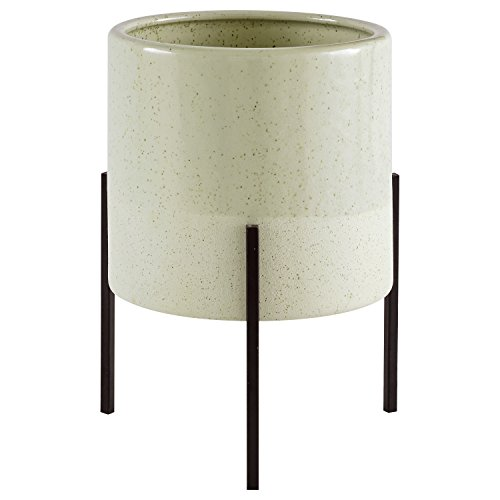 "Rivet Mid-Century Ceramic Planter with Iron Stand 9.1""H, Green"