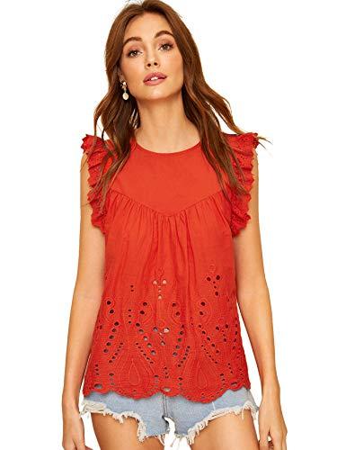 SheIn Women's Summer Cute Cut Scalloped Ruffle Sleeve Blouse Workwear Top Shirts Medium Red