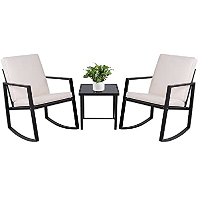 Devoko 3 Piece Rocking Bistro Sets Outdoor Patio Furniture Sets Wicker Porch Furniture with Glass Coffee Table (Black)