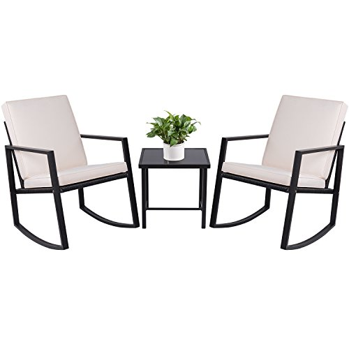 3 Piece Small Sectional - Devoko 3-Piece Rocking Bistro Sets Outdoor Patio Furniture Sets Clearance Wicker Porch Furniture with Glass Coffee Table (Black)