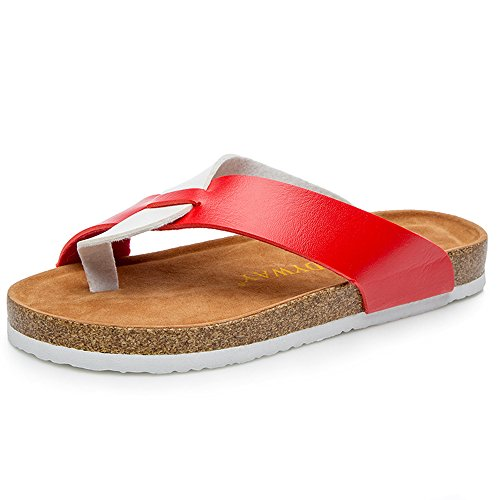 BigTree Sandals for Women T Strap Buckle Open Toe Gladiator Beach Thong Flat Summer Flip Flop Red&white