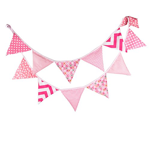 JD Million shop 12 Flags 3.2m Double-sided Printed Polyester Cloth Decoration Pink Flag Banner Pennant For Wedding/Birthday Party Decor