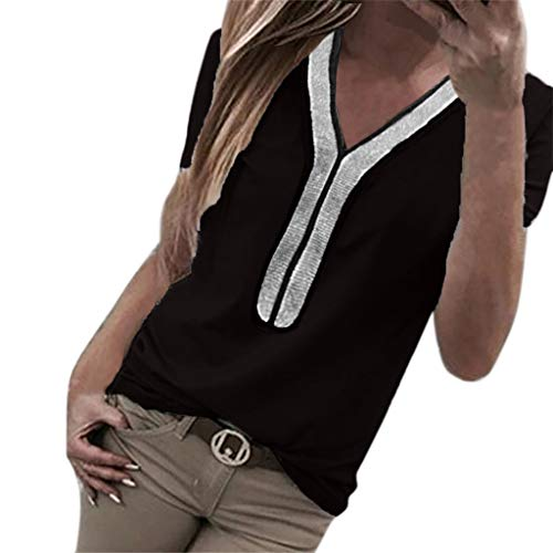 Aoesila Women Casual Roll Long Sleeve V Neck Button up Solid Blouse Tops Shirts ()
