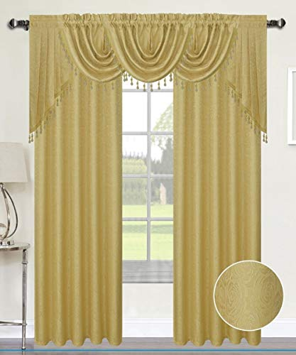 Luxury Home Textiles Angelina Damask 7 Piece Curtain, Beaded Austrian VALANCES and Swag Set, Gold ()