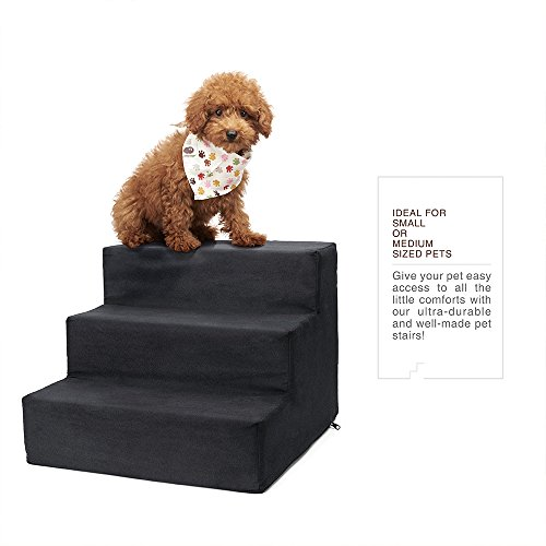(Delxo High Density Foam 3 Tier Pet Stairs,Comfy Micro Suede Pet Steps with Machine Washable Zippered Removable Cover with Anti-Slip Black Dot Bottom Loads 44lbs Black(3-Step, Black))