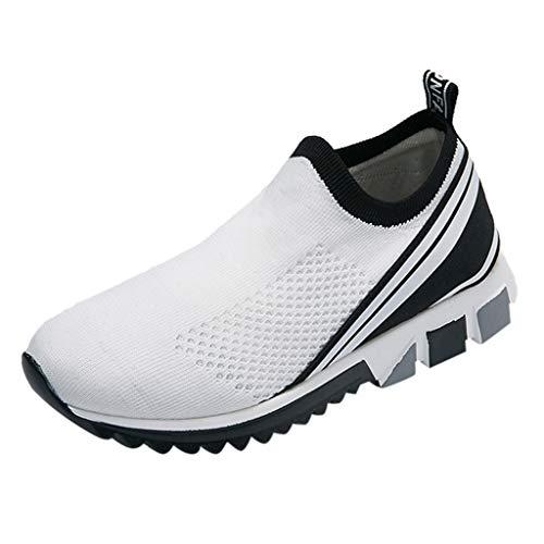 JJLIKER Men's Mesh Slip-On Sneaker Summer Comfortable Breathable Casual Athletic Shoe Walking Flyknit Running Loafer (Best Jordan Shoes To Play In)