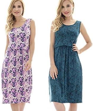 Bearsland Womens Sleeveless Maternity Dress Nursing Breastfeeding Dresses With Pockets Clothing Shoes Jewelry Dresses