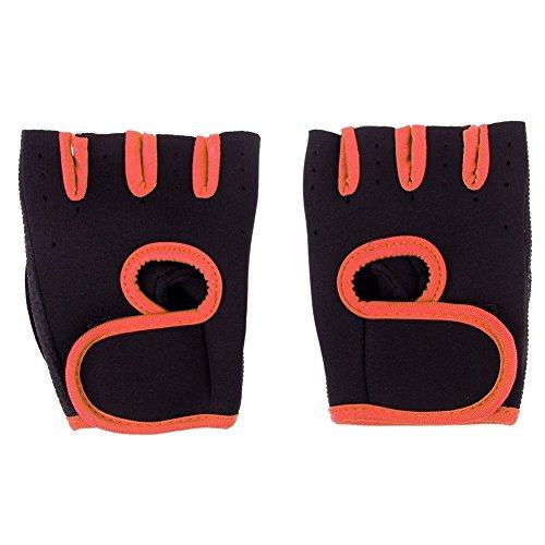 (WALLER PAA Choose Size Men Women Weight Lifting Gloves Fitness Gym Exercise Training Hot (Orange, M))