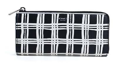 Coach Bleecker Accordion Zip Wallet Black White Multi Coated Canvas Clutch
