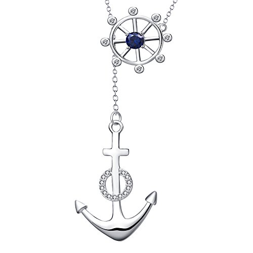 YFN Anchor and Wheel Necklace Sterling Silver Nautical Anchor Necklace Jewelry 16''+2'',for Women,Girls by YFN (Image #6)