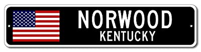 NORWOOD, KENTUCKY USA City Flag Sign Aluminum Patriotic Sign Quality Aluminum Sign