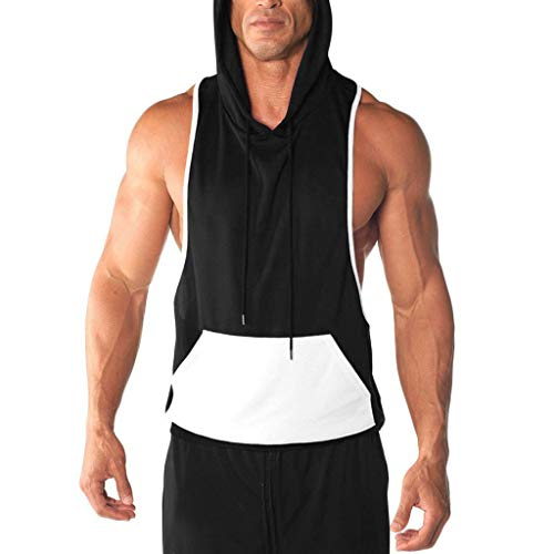 Mens Gym Hoodie Muscle Fitness Vest,MmNote Workout Athletic Pocket Design Sleeveless Loose Sports No Zip Tank Top Black
