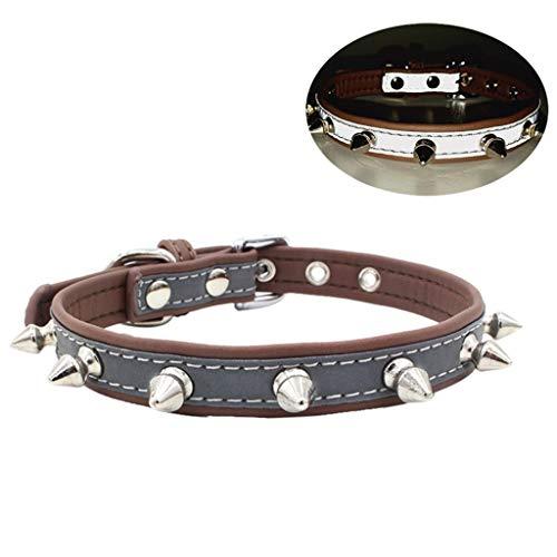 Pet Dog Collar,Reflective Adjustable Length Rivet Spiked Studded Neck Strap Puppy Collars (L, Brown)
