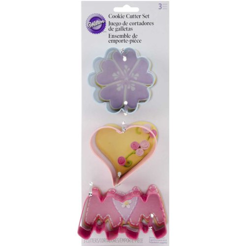 Wilton Mother's Day Cookie Cutter Set, 3-Piece Heart Shaped Brownie