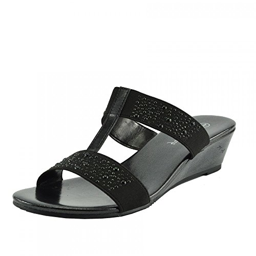 Kick Footwear - Ladies diamante wedge slip on dressy party platform sandals Black F10736 20qyjWHw0A