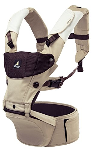 Abiie HUGGS Baby Carrier Hip Seat – Approved by U.S. Safety Standards – Healthy Sitting Position M-Position – Front Facing, Hip Hugger, Back Baby Carrier – 100 Cotton, 2-Year Warranty Khaki