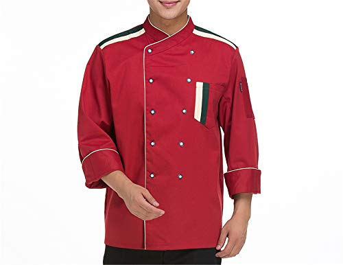 MRxcff Newly Long-Sleeved Chef's Jacket Restaurant Hotel Uniform Kitchen Men Autumn&Winter Work Clothes Cooking Coat Overalls Red-Coat XL]()