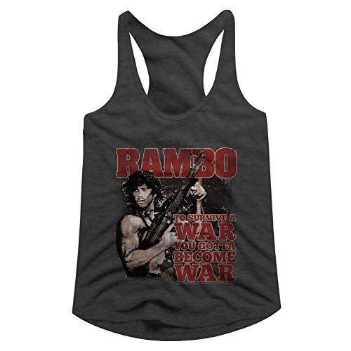 Rambo Film Series Become War Dark Gray Heather Ladies Racerback Tank Top Tee