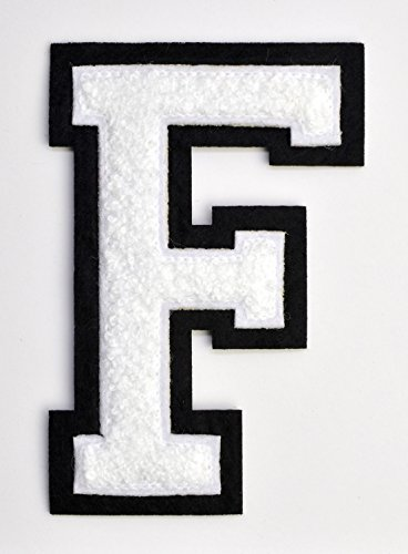 Varsity Letter Patches - White Embroidered Chenille Letterman Patch - 4 1/2 inch Iron-On Letter Initials (White, Letter F Patch) - Patches Jacket Varsity