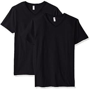 Fruit of the Loom Men's V-Neck T-Shirt (4 Pack), Black, X-Large