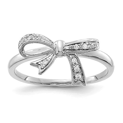 14K White Gold Diamond Bow Ring (0.05Cttw)