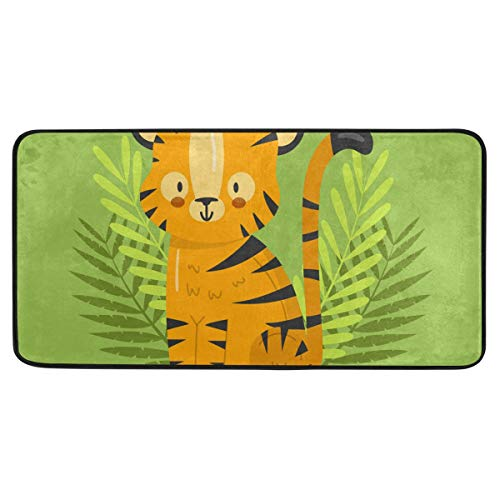 - Forest Kawaii Tiger Doormats Inside Outside Non-Slip Indoor Outdoor Floor Entrance Absorbable Water Door Mat for Front Door Home Bedroom Kitchen