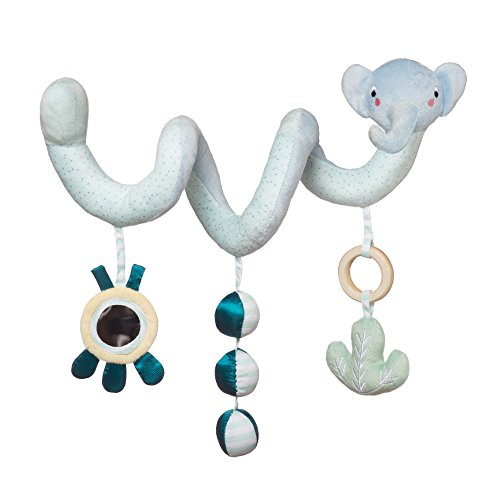 Manhattan Toy Safari Elephant Spiral Stroller and Crib Toy with Baby Mirror, Rattle and Teether