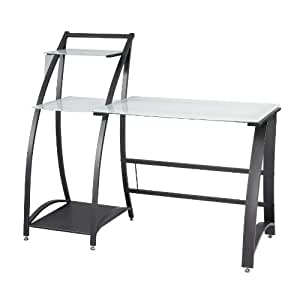 Safco Products 1936TG Xpressions Glass Top Computer Workstation Desk with Shelves (Keyboard Tray 1940BL sold separately), Tempered Glass/Black Frame