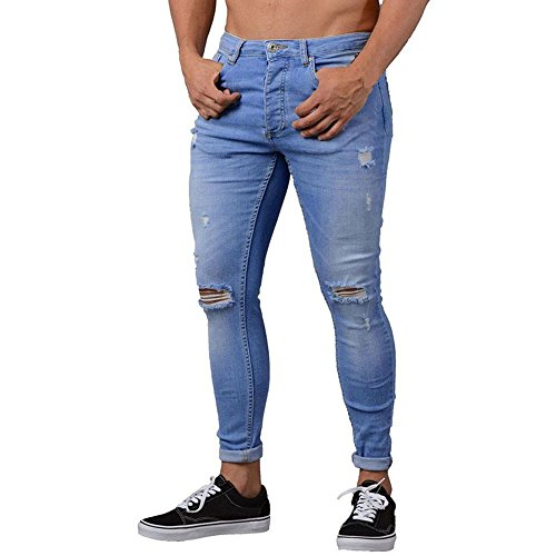 iYBUIA Men Pure Slim Biker Denim Jeans Skinny Frayed Pants Distressed Rip Troursers Blue -