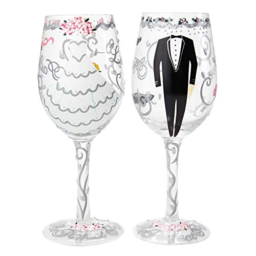 Enesco Designs by Lolita Wine Glass, Bride & Groom Set os 2, 15 oz (Hand Painted Wine Glasses Mother Of The Bride)
